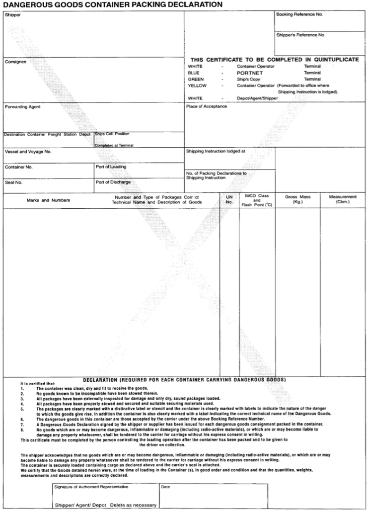 Example of a Dangerous Goods Container Packing Declaration