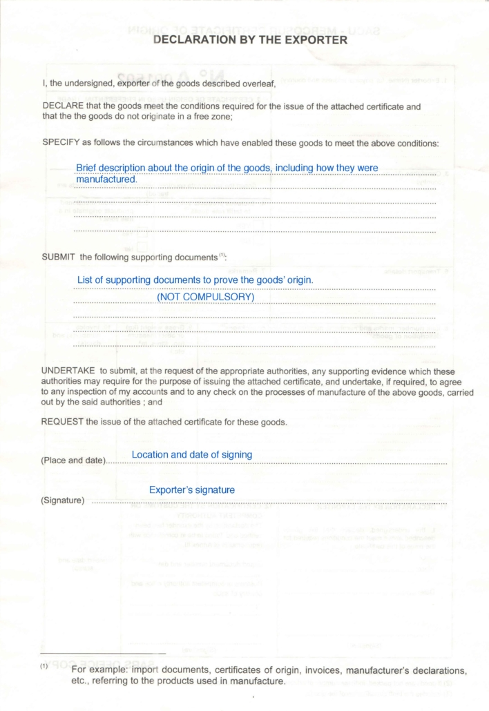 Example of how to fill in a SACU-MERCOSUR certificate of origin page 2